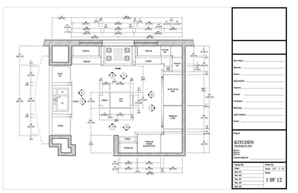 Drafting by ids for Planning a kitchen layout